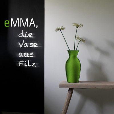 eMMA L grün die Filzvase von nettedinge.com