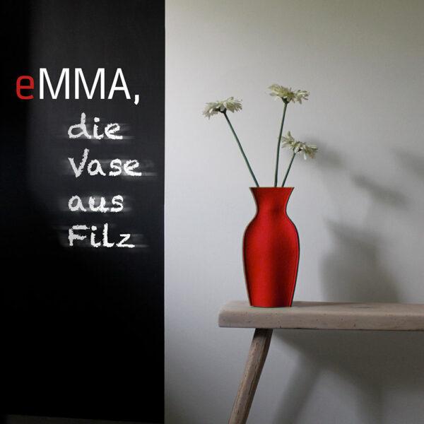 eMMA L rot die Filzvase von nettedinge.com